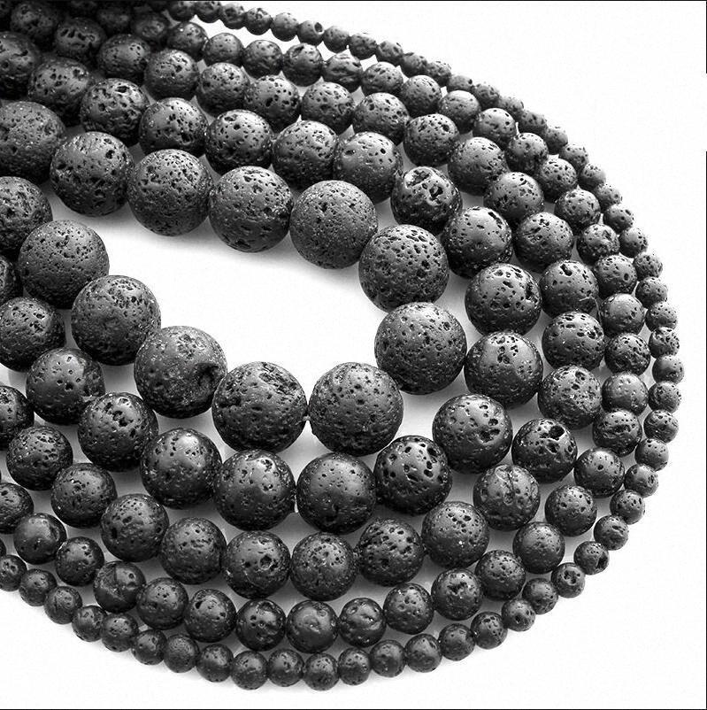 Charms Roccia vulcanica naturale pietra rotonda Perle nero di lava vulcanica Perline bracciale fai da te per i monili che fanno 4-12mm 82qo #