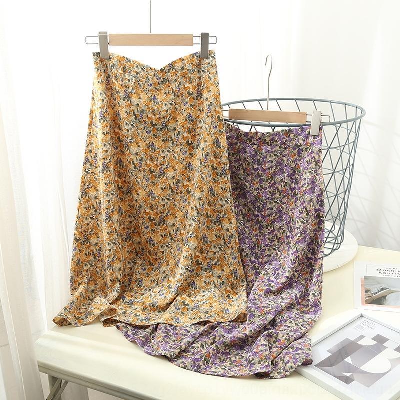 delle donne 99jR0 M8442-coreano vestiti di lunghezza media Estate overskirt a vita alta 2020 di nuovo elastici nuovi pantaloni e pantaloni floreali