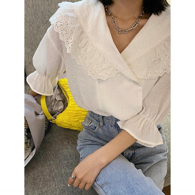 camicia a maniche bavero corno MJJ Primavera / Estate New coreano East Gate Big Horn versatile camicia casual doppio petto per le donne