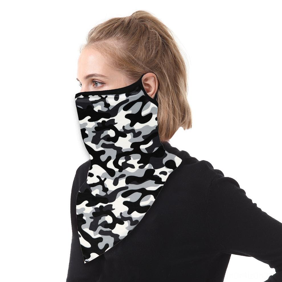 Ciclismo triángulo cálido cuello tejido transpirable Pasamontañas gorra de esquí Sombrero de seda de hielo impresión del oído a prueba de viento caliente de la máscara de bicicletas bufanda 0kUBl