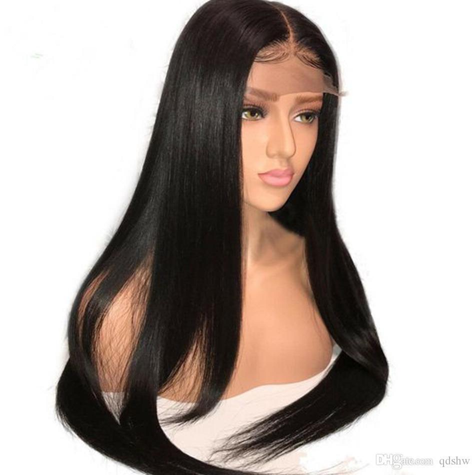 HD Şeffaf Dantel Frontal Peruk 13x4 Tutkalsız Virgin Brezilyalı Düz Saç Hd Şeffaf İnsan Saç Tam Dantel Açık Peruk Öncesi Mızraplı