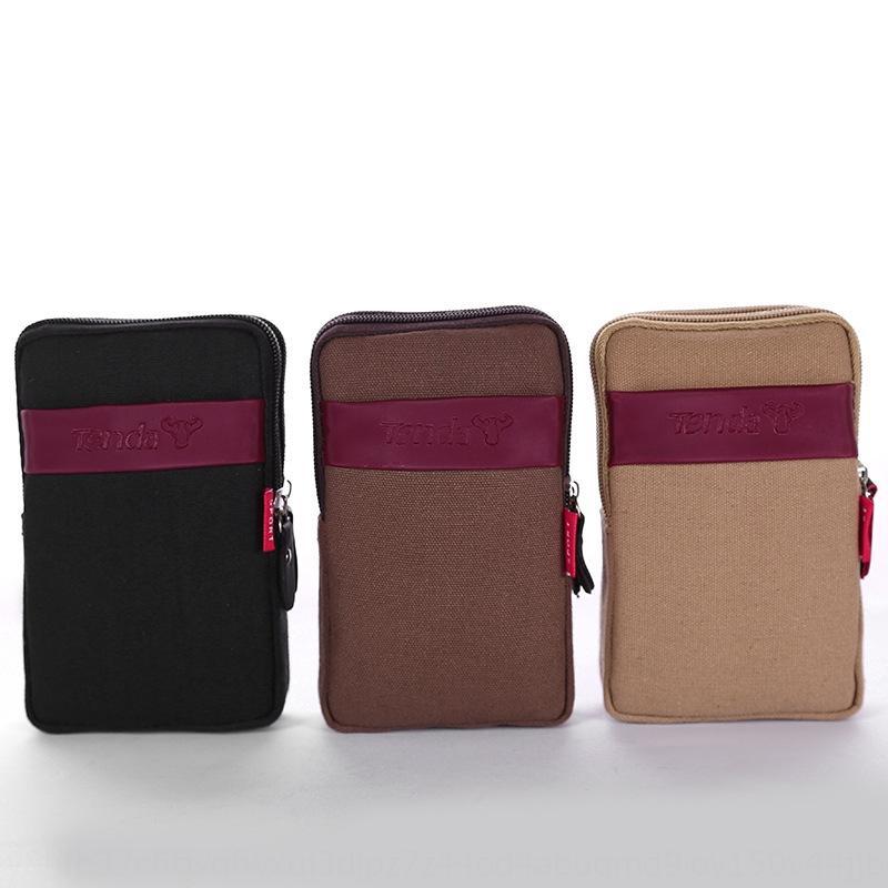 cuir toile ceinture sac téléphone mobile toile décontracté résistant à l'usure téléphone mobile multifonction sac en cours d'exécution de nouveaux hommes
