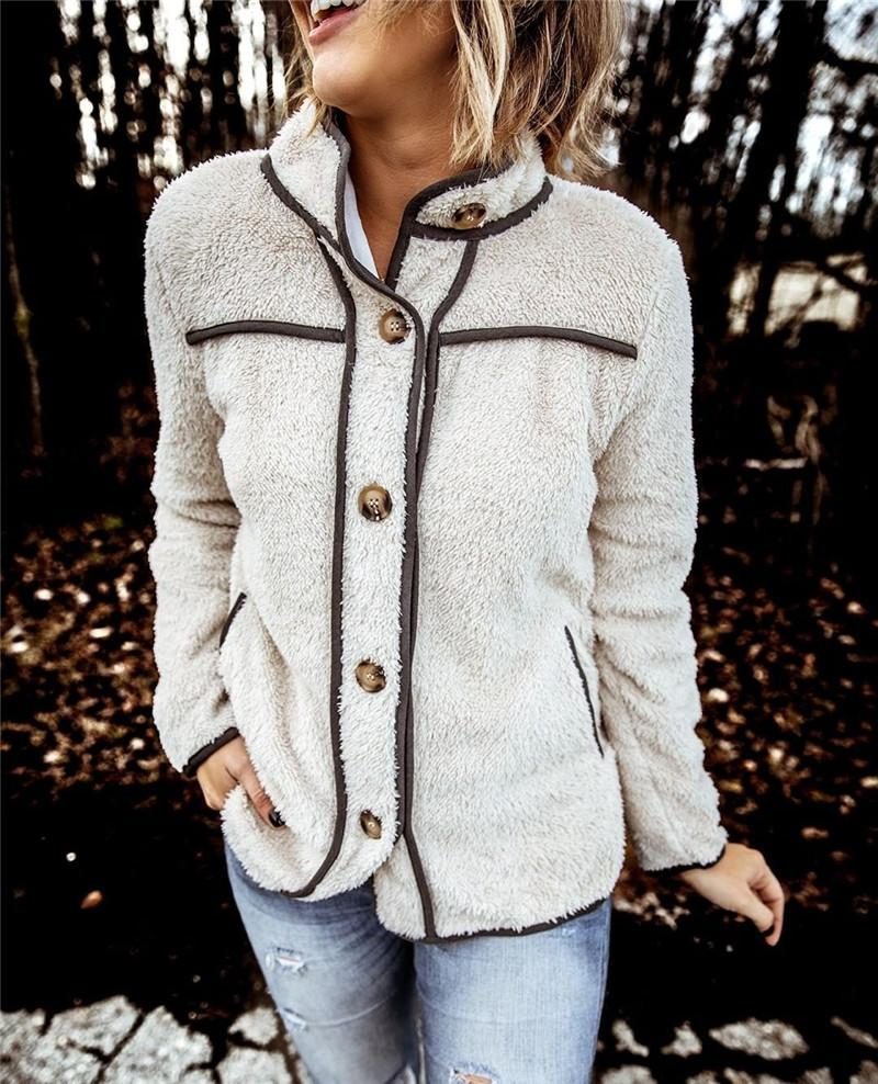 Women Winter Jacket Fashion Natural Color Striped Panelled Plush Jacket Casual Long Sleeve Stand Collar Jacket Woman Clothes