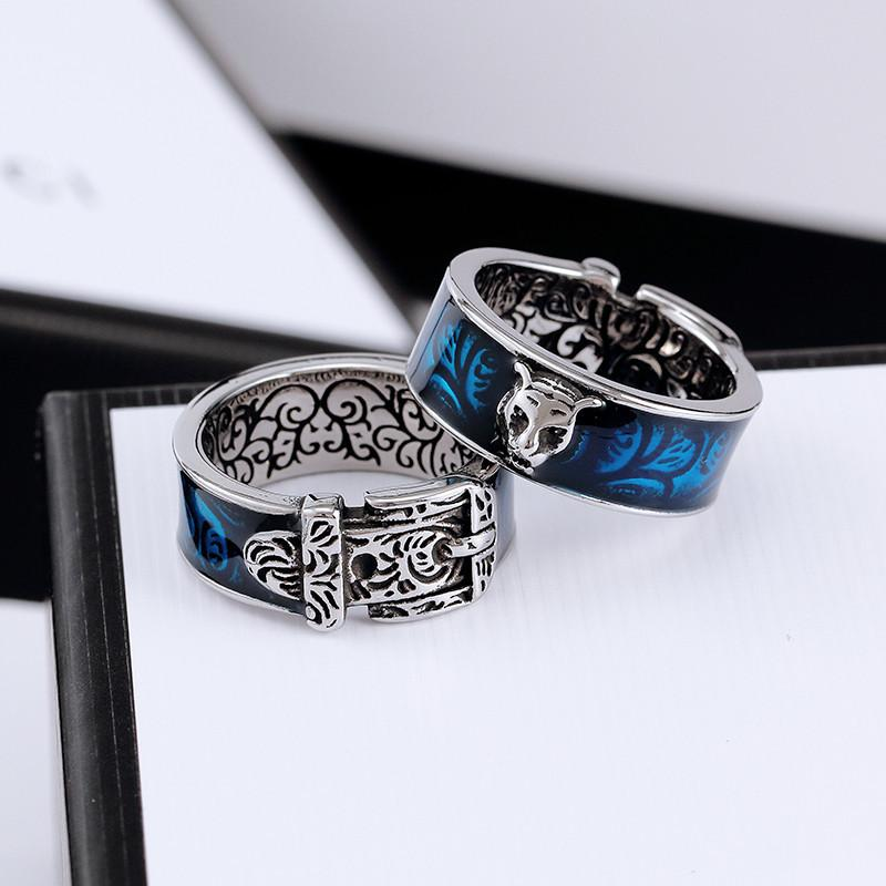 Retro ring Tiger head lovers ring new home turquoise love fashion trend hip hop ring designer rings jewelry