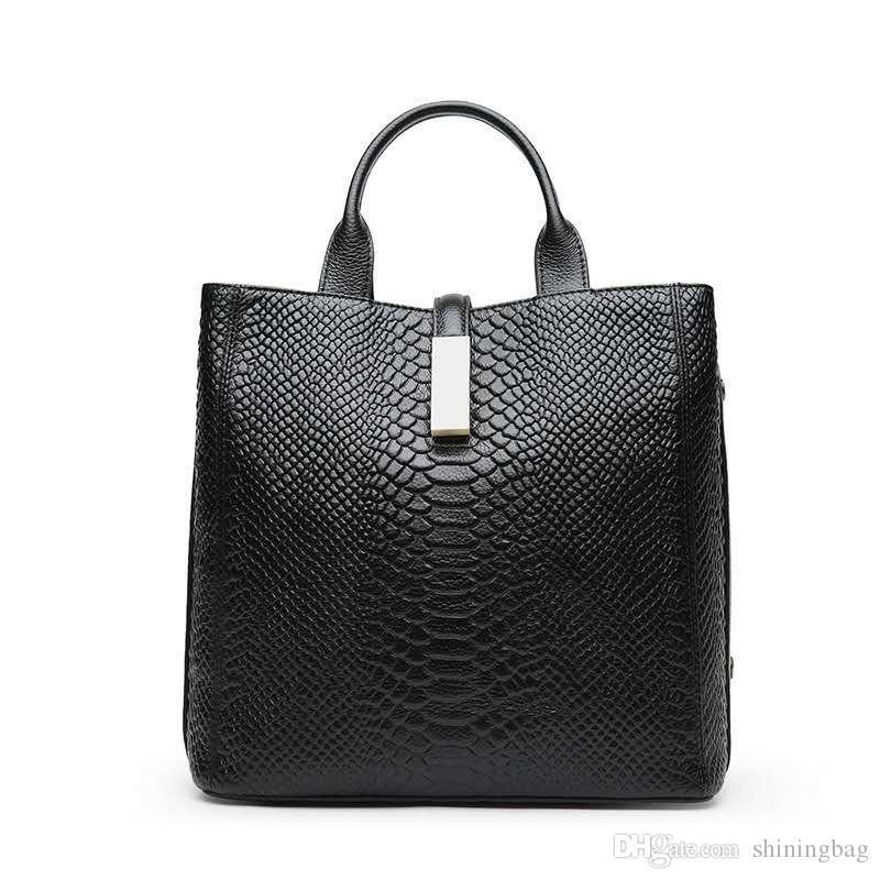 Sac à main en cuir noir épaule femmes Crocodile Sac à main design Européens et mode américain cadeau Croix Sac 0875