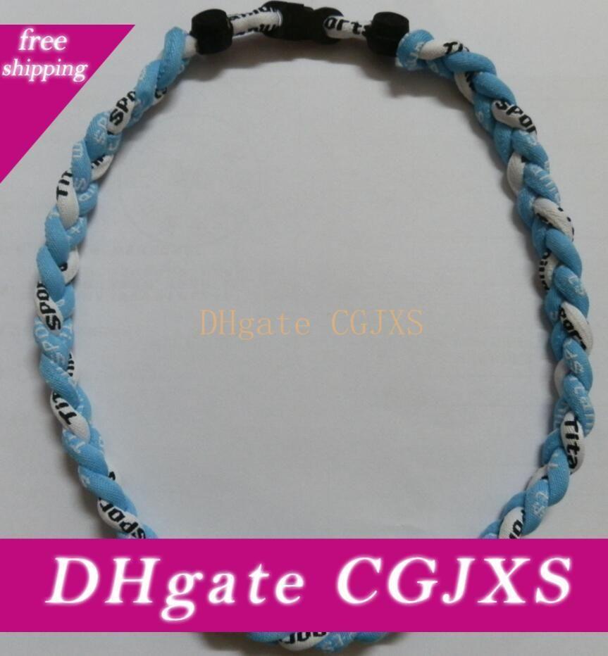 -Chokers al por mayor 350pcs del collar del deporte collar Lote de 3 cuerdas collar trenzado Titanium sana Negro Amarillo