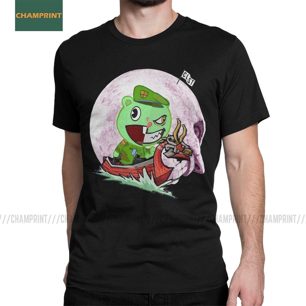 T-shirt dos homens Flippy The Wind Waker Collar Tops Happy Tree Friends Cotton Tees manga curta aberto Lumpy Petúnia Camiseta Rodada