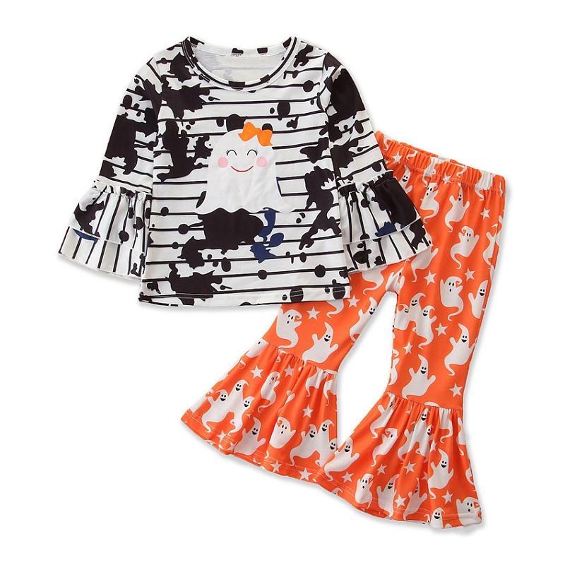 Halloween Mädchen Kleidung stellt Langarm wenig Geist Stripepd Drucken Top + Flare Hosen 2Pcs / Set Boutique Kinder Outfits M2835