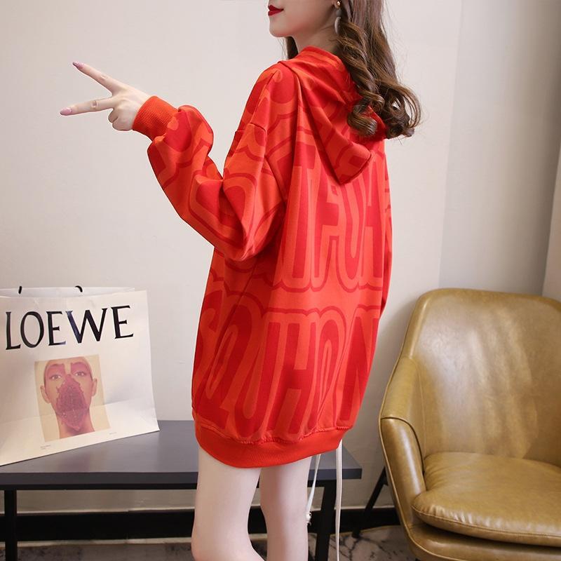MeEqM средней длины осень Новый потерять ленивый капюшоном женщин свитер стиль Ins корейский свитер студент 2020 письмо печати 7CXMu