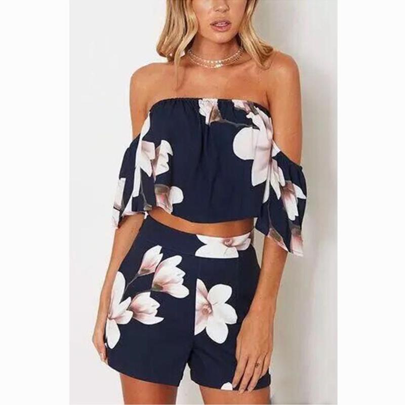 Tute da donna 2pcs Floral Slash Neck Set Set donna Due pezzi vestito Top femminile Top femminili per le donne Outfit BlusAS Femininas de Verao 2021 roup