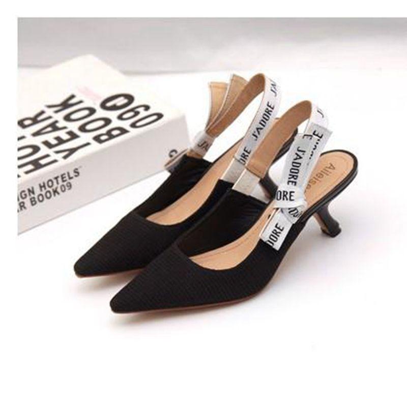 핫 Sale- 편지 활 매듭 높은 뒤꿈치 신발 여성 활주로 뾰족한 발가락 낮은 뒤꿈치 신발 여성 Gladiaor 샌들 레이디 브랜드 디자인 메쉬 플랫 슈즈