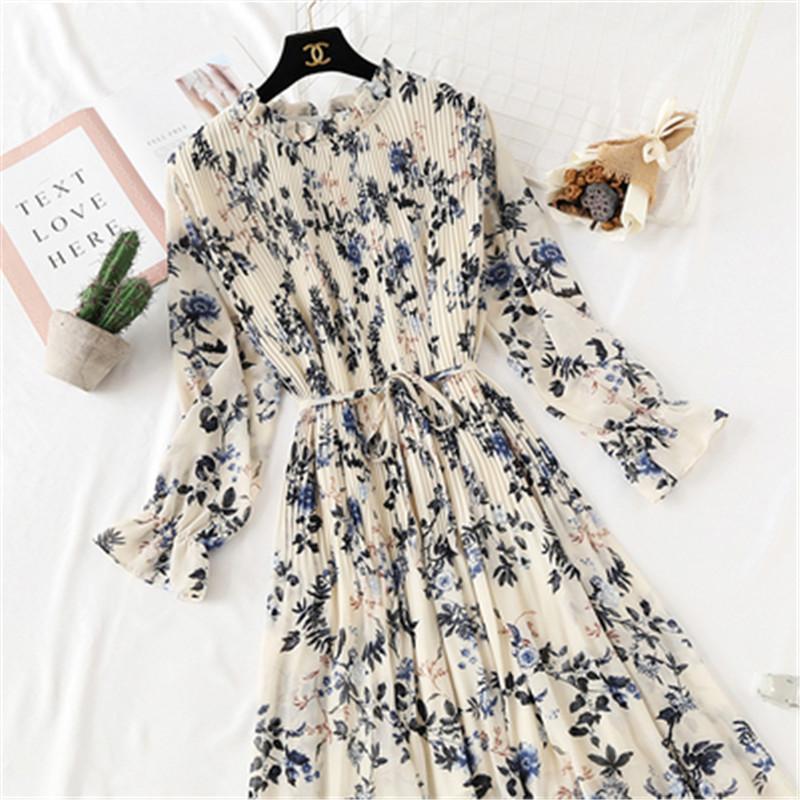 2020 Printemps Eté Nouveau Hot Femmes Imprimer Robe plissée en mousseline de soie Mode Femme Casual manches Flare cou Lotus feuille de base Dresses86