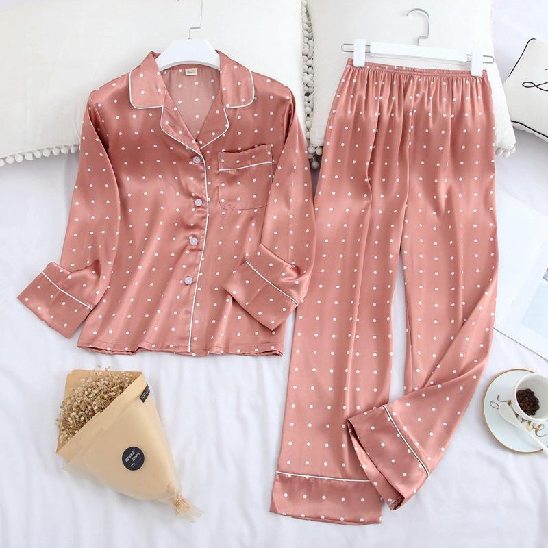 2020 새로운 얼음 실크 새틴 옷깃 여성 잠옷 세트 인쇄 패션 잠옷 긴 소매 잠옷 고품질 세트