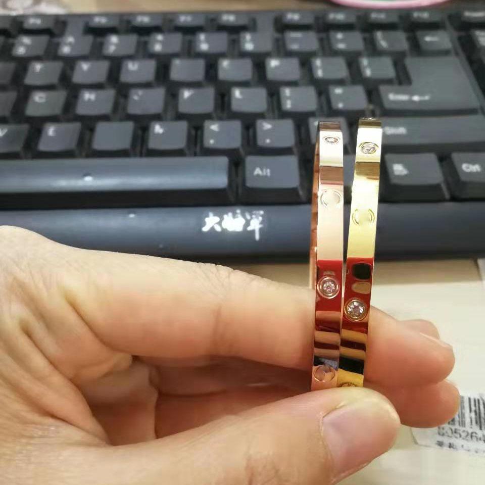4 milímetros de prata fina pulseiras Bangles por Mulheres Homens Titanium Aço Ouro chave de fenda pulseiras Hot amantes Venda Pulseira não 16-19cm caixa
