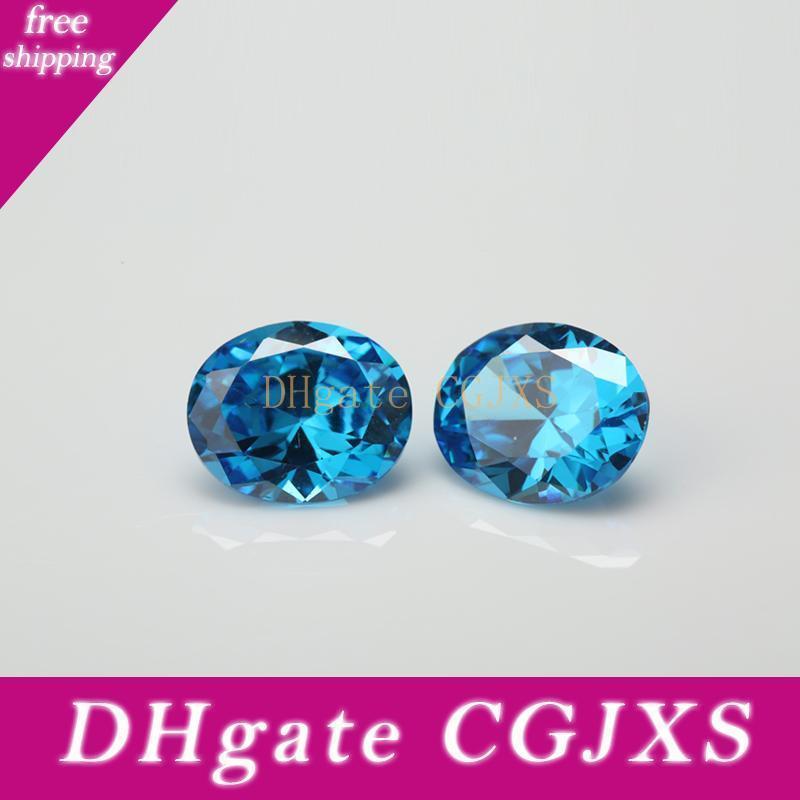 2x3 ~ 10x12mm 5a Forma Grado Seablue color oval circonio cúbico de piedra suelta piedra de la CZ gemas sintéticas