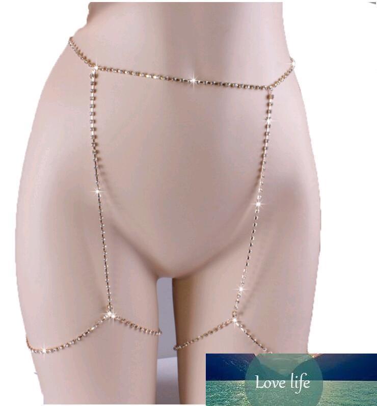 Cadena atractiva del cuerpo completo Brillante Rhinestones diamantes CZ Pierna Encanto Belleza joyas de oro de la plata de las mujeres Cadenas Belly