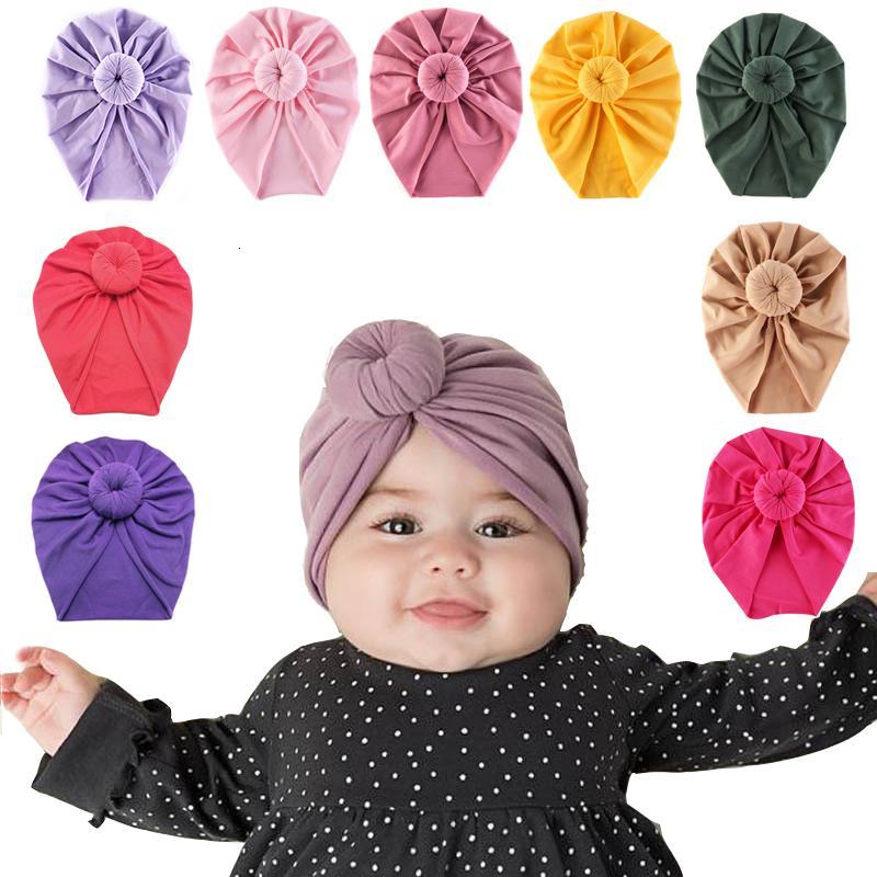 Bebé vendas del bebé del algodón sólido KONT turbante con banda elástica para niñas Spandx Beanie sombrero Headwear del bebé Accesorios para el cabello