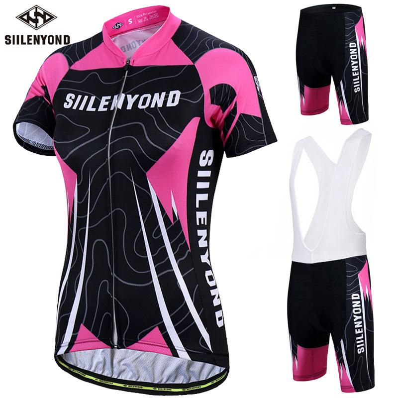 Siilenyond برو النساء ركوب الدراجات جيرسي مجموعة المضادة للأشعة فوق البنفسجية MTB دراجة الملابس الصيفية ملابس رياضية دراجات ملابس ركوب الدراجات البدلة الموحدة