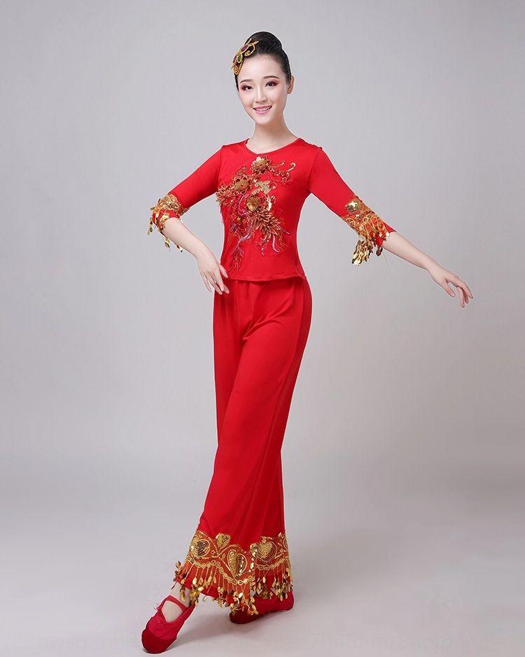 Platz Nationale Kleidung der Frauen 2019 neuen Anzug Fantanz Yangko Kostümtanz Kostüm nationalen Stil rot