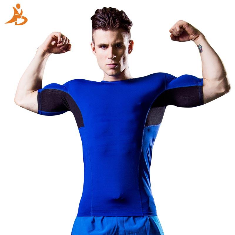 2020 Summer Shirt Compression Hommes Marque Sport Shirt Bodybuilding Sport Collants Baselayer Fit Courir Top Tees Fitness Gym