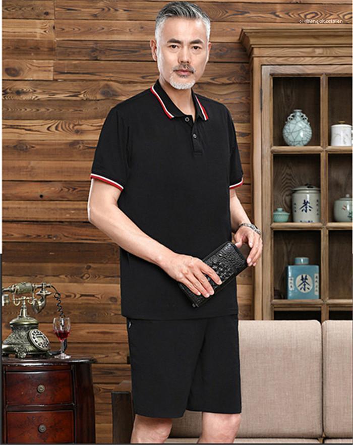 Avec court Pantalon droit en vrac 2PCS Casual Patchwork Mens Designer Survêtements Papa Vêtements Pure Color Summer Lapel Neck à manches courtes