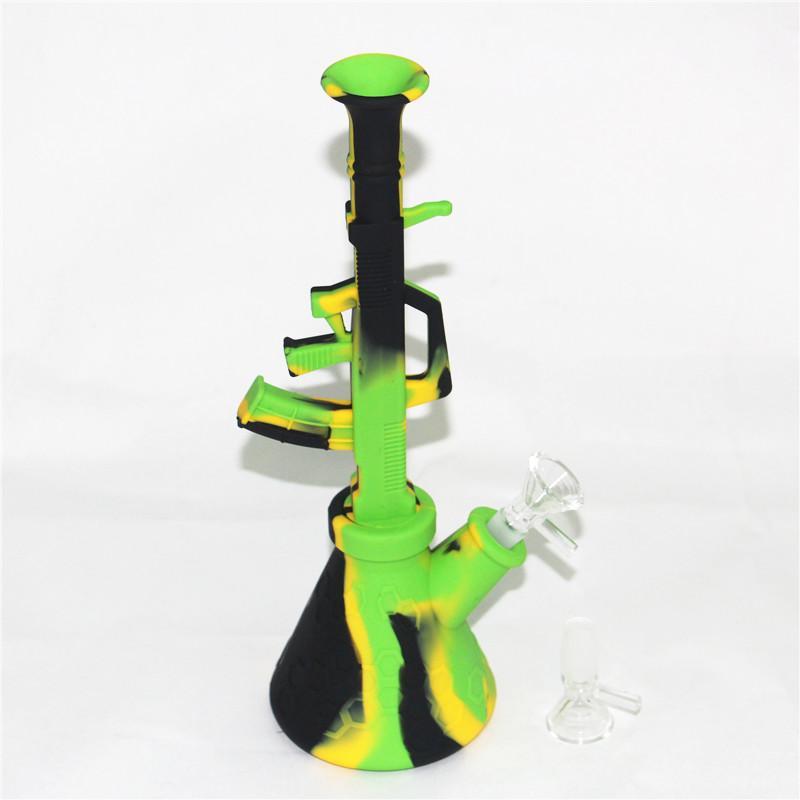 Caixa de silicone Bong AK47 Néctar Kit Coletor 270mm Hookah Dab Beaker fumar tubo de água com tigela de vidro grosso
