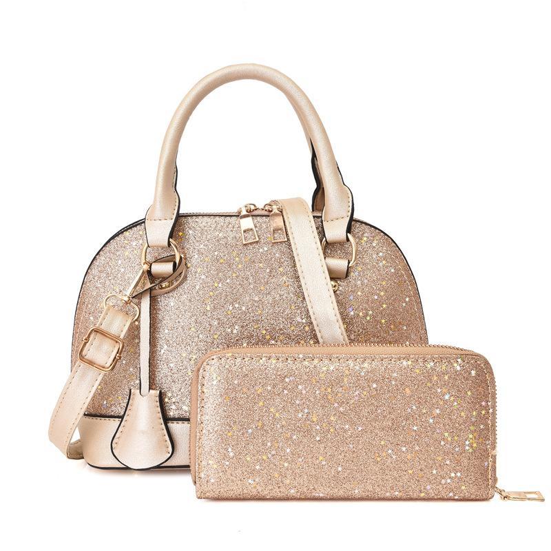Мода милые ПК Hobo плечо для дизайнера Блестящие сумки 2 Сумки Дамы раковины Свинцев Кожаный набор кошелек женский кошелек ARNBC
