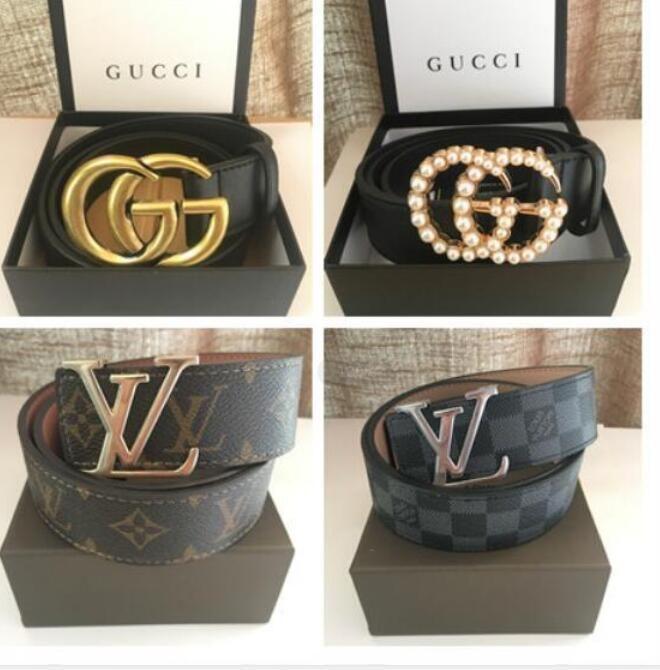 Latón clásica Cinturón Luxurys Diseñador perla hebilla de la faja Para Hombres Mujer JeansGucci Cinturón