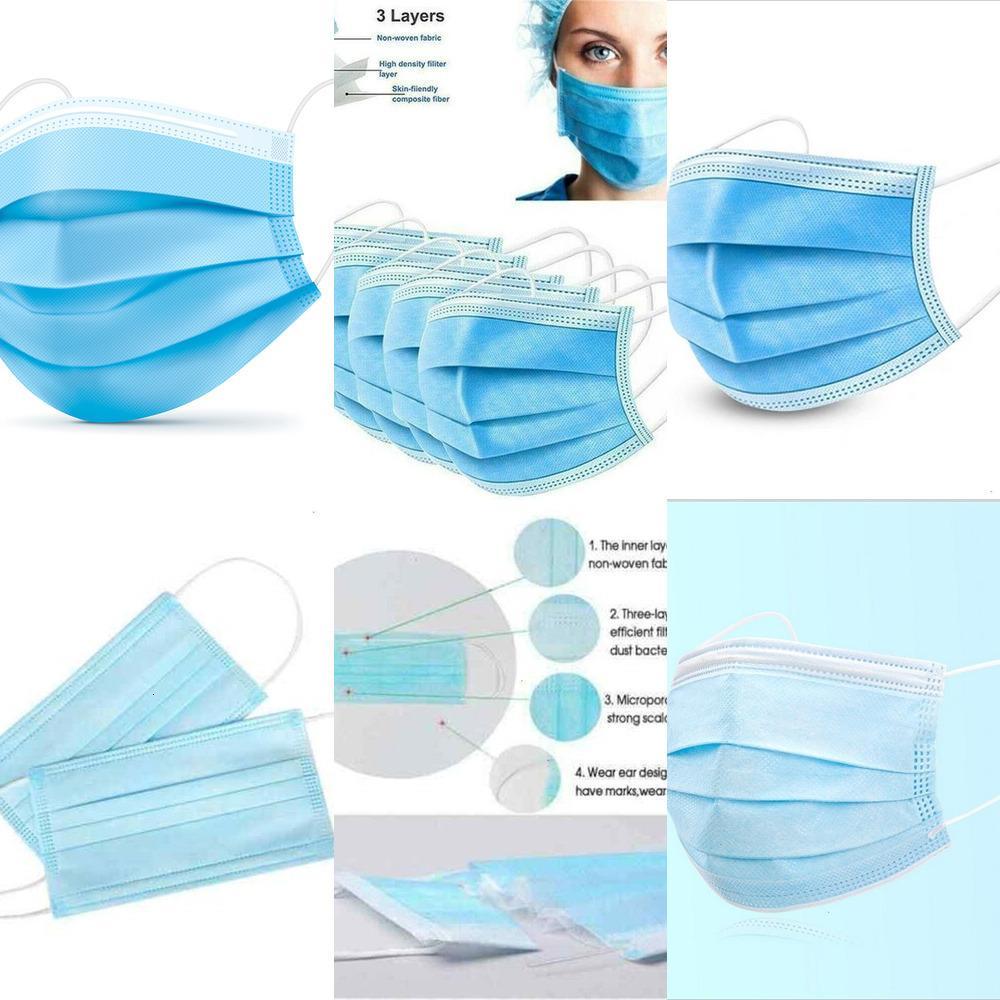 50 шт Одноразовая маска для лица 3 слоя Защитные маски ткани рта аэродинамическим способом из расплава крышки предохранителя 50шт / коробка L6KKK L4E9M