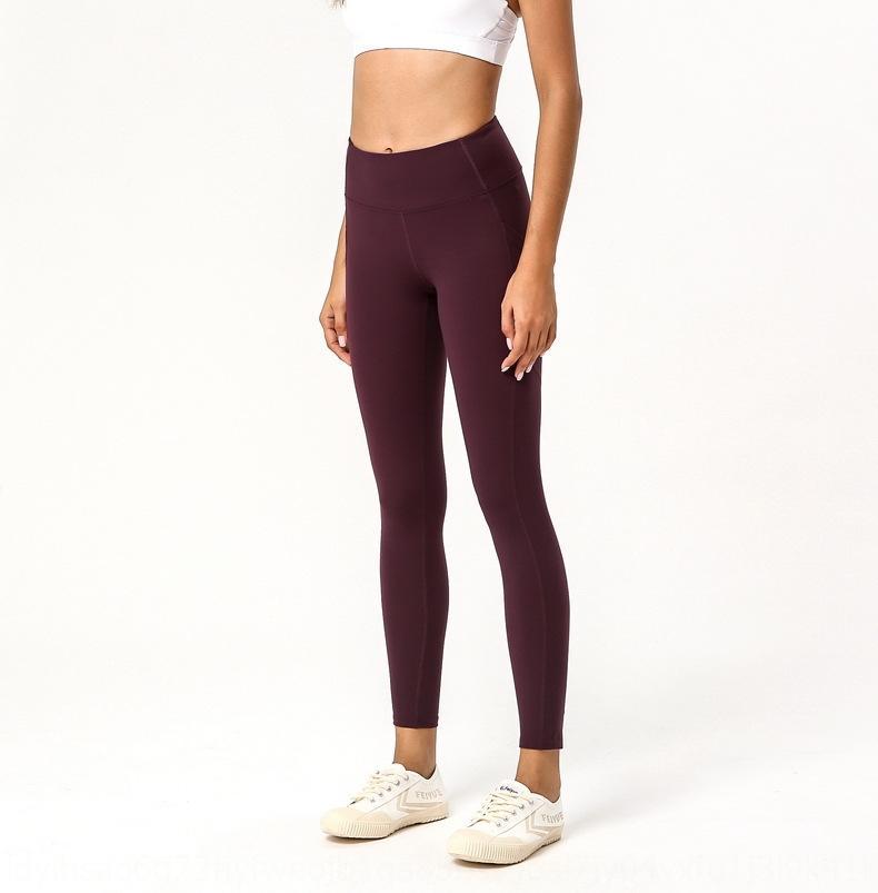 2020 Nueve Pantalones de yoga de cintura altos de doble cara de nueve puntos de nueve puntos Pantalones de yoga de nueve puntos 6GHKH
