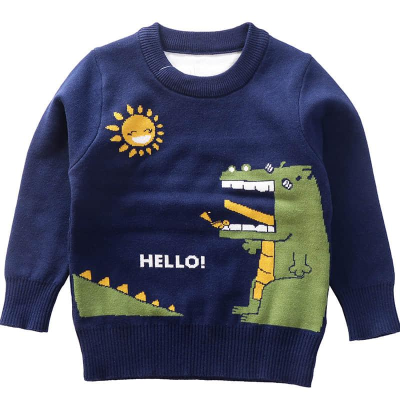 Toddler Fall Clothes Baby Boys Sweater Knitted Cotton O-Neck Pullover Jumper Navy And Gray Kids Sweater Full Tops Casual Winter Boy Clothing