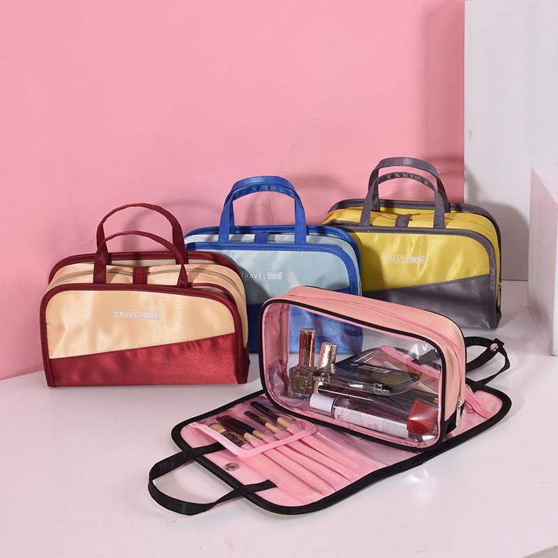 2 في 1 السفر ماكياج منظم غسل حقيبة تعيين المحمولة ماكياج التجميل الحقيبة فرشاة التخزين حقيبة مضادة للماء غسل حقيبة