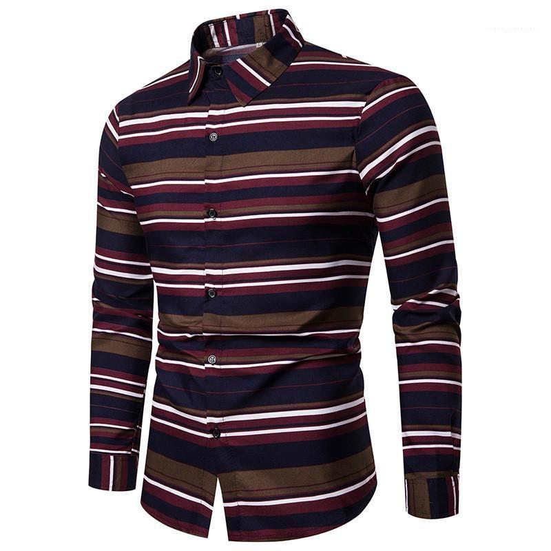 Collier turndown simple boutonnage Hauts Casual Hommes Vêtements Automne Homme Designer Taille Plus chemises à rayures Imprimer