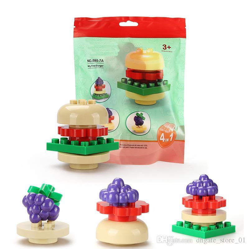 6-10pcs Büyük DIY Yapı Taşları Tuğlalar Çocuk Hediye Hayvan Gıda Modeli İçin Sevimli Oyuncaklar Çocuklar için Zeka Yaratıcı Blokları ayarlar