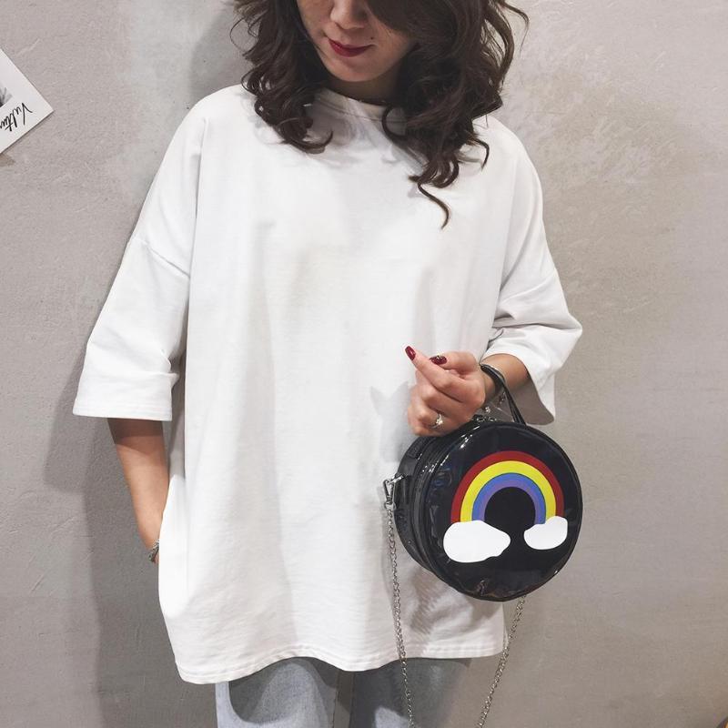 Mini saco arco-íris bateu cor quente para bolsas venda mulheres crossbody casual rodada bolsa de ombro viajar bolsa de viagem viajar laser wjkur