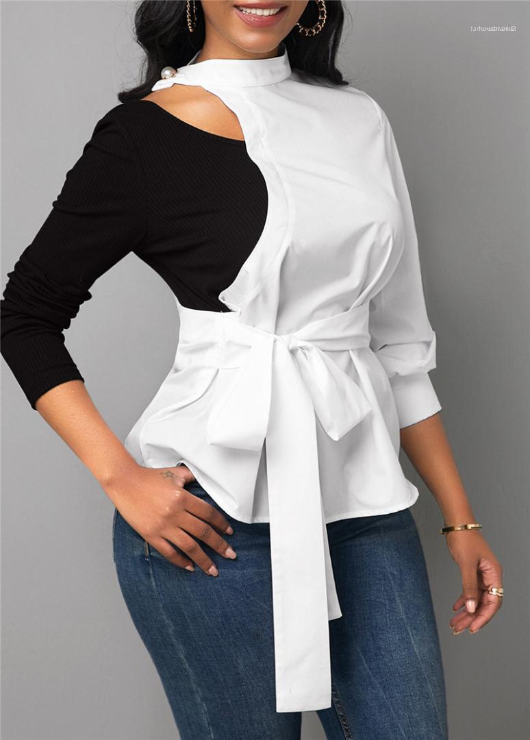 Designer Panelled Blusen Mode-Bogen-Spitze-Up Hemden Freizeit Kontrast Farbe Langarm-Shirt Damen Kleidung Damen