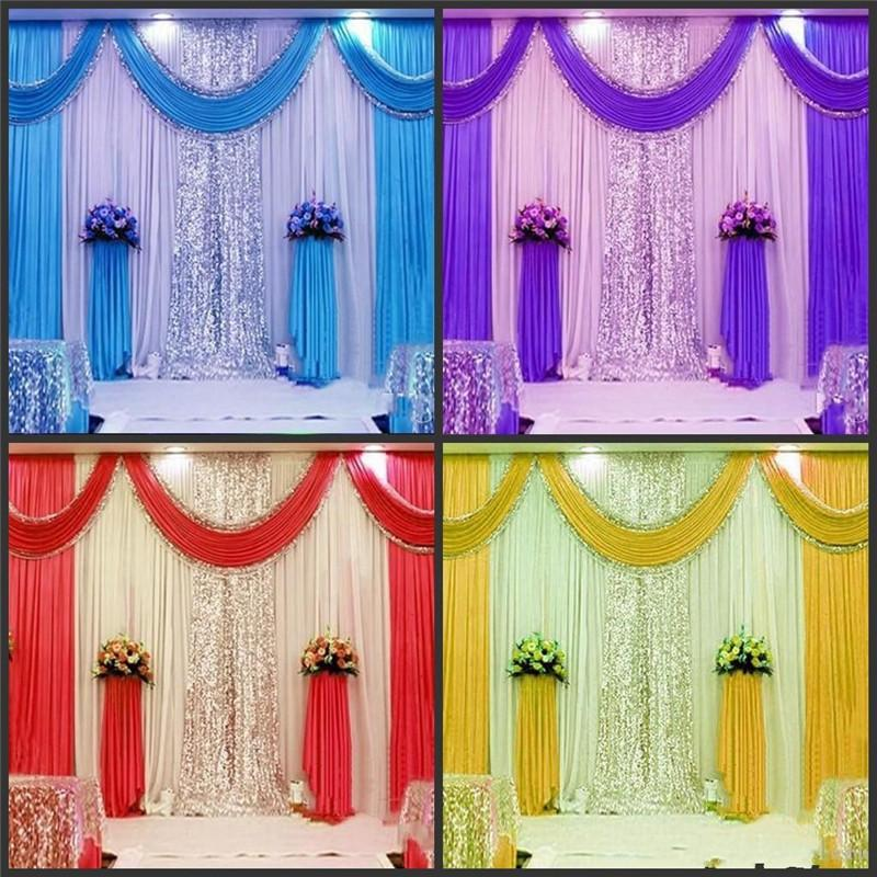 Neue Ankunfts-3m * 6m (10ftX20ft) Partei Vorhang Feiern Bühnenproduktionen Hintergrund Drape mit Perlen Pailletten Rand Swag Hochzeit Hintergrund