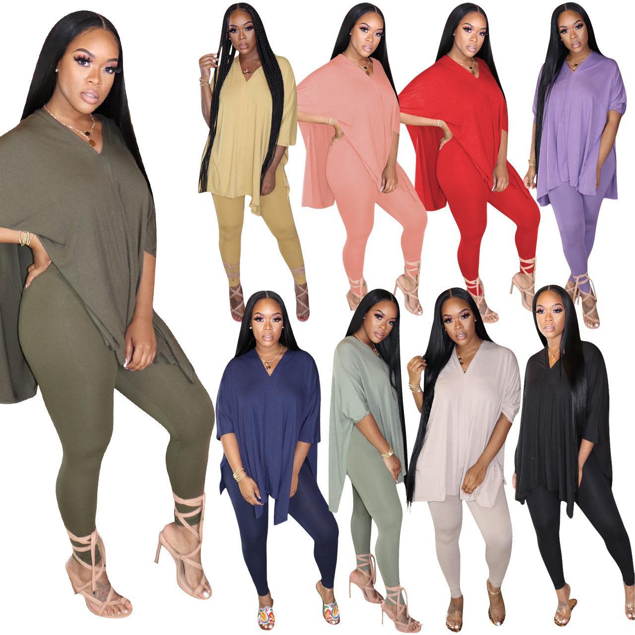 Bayan 2 Parça Setleri Desinger Eşofman Yaz Giyim V Boyun 2 Parça Set Suit Baskılı T-shirt Casual Spor Suit C615