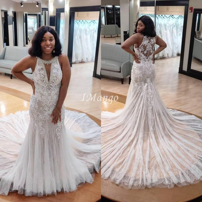 2021 African Mermaid Wedding Dresses Lace Appliques Illusion Boho Bridal Gowns Beach Wedding Party Gowns Customized Vestidos De Novia