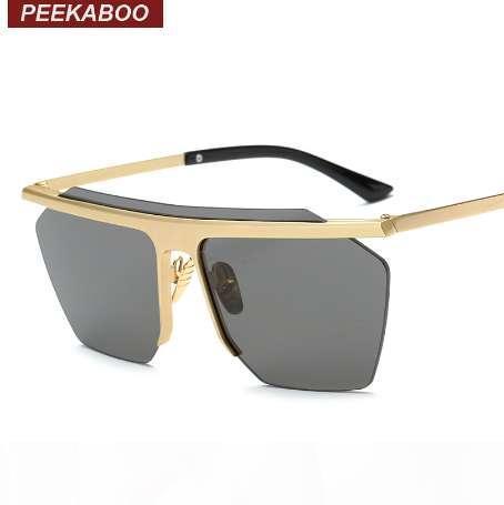 Peekaboo Jahrgang gespiegelt randlos Sonnenbrillen Metall Gold Art und Weise großes Stück Linse Polygon-Sonnenbrille Männer Frauen COOL lentes