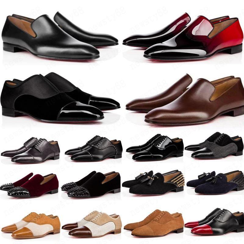 جديد 2020 مصمم رجل أحذية متعطل أسود أحمر سبايك براءات الاختراع الجلود الانزلاق على اللباس الزفاف الشقق القيعان الحذاء للأعمال حزب حجم 39-47