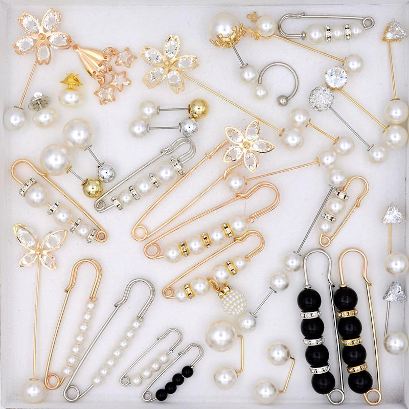5GTMY Anti-esposizione scarfClothes fascia alta spilla di seta del tutto-fiammifero abiti femminili pin perla di seta spilla sciarpa Pearl bocca gonna sciarpa Wai n30YQ