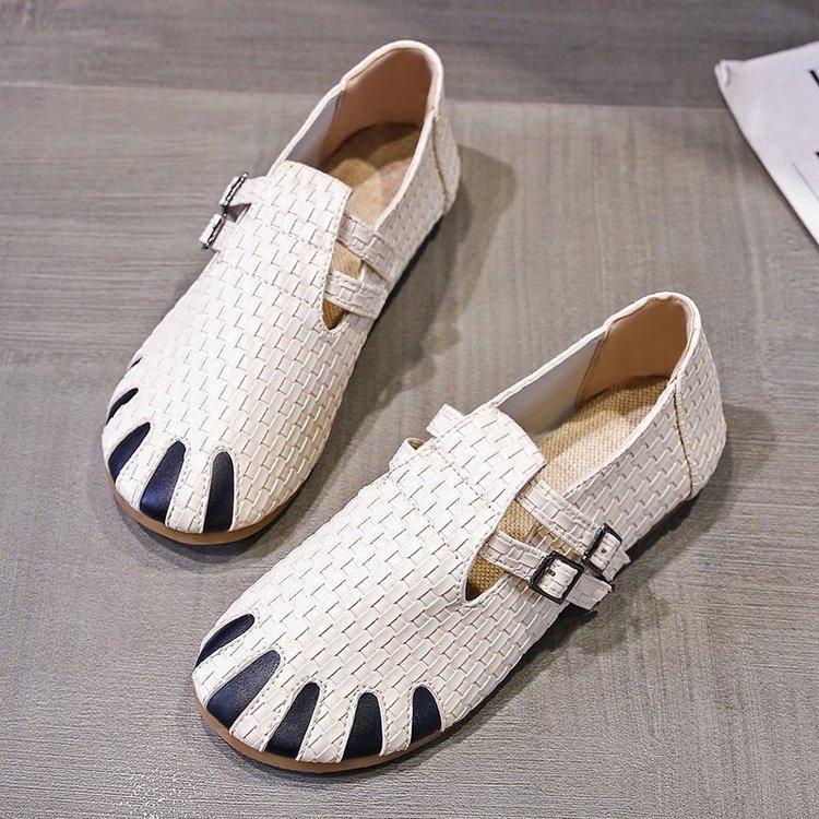 Más el tamaño 43 zapatos ahueca hacia fuera las mujeres de cuero transpirable Banda elástica plano ocasional Adecuado para una amplia zapatilla de deporte de las mujeres de piernas