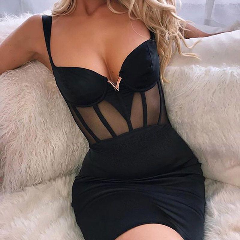 2020 Été femmes robes noires maille solide noir sexy moulante spaghetti Bracelet Mini court Tight Party Club Robe Femmes Femme