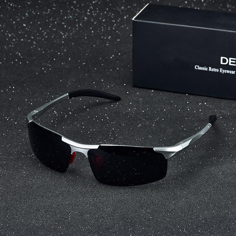 gafas de sol de color P3236 medio cuadro de los hombres de conducir día y la noche gafas polarizadas película de doble uso brillo sol gafas de sol I0Bgc
