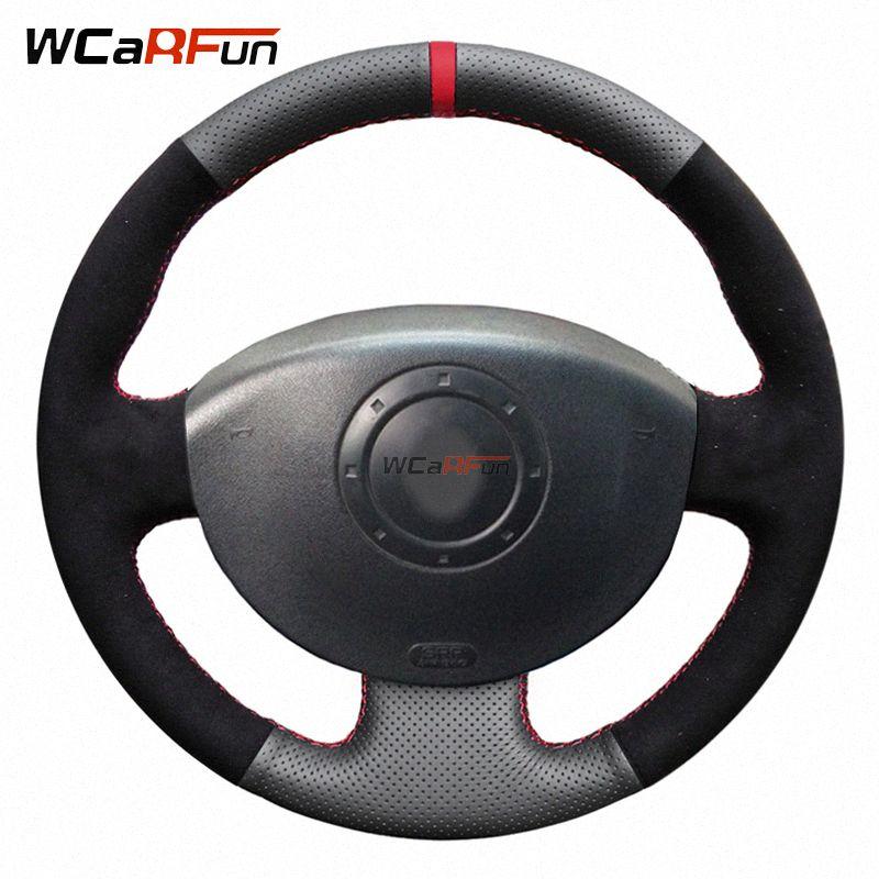 WCaRFun Negro Gamuza de piel rueda de coche de la cubierta para el Megane 2 2003 2008 2008 Kangoo escénica 2 2003 2009 Dirección del resbalón de la rueda Cov G4wa #
