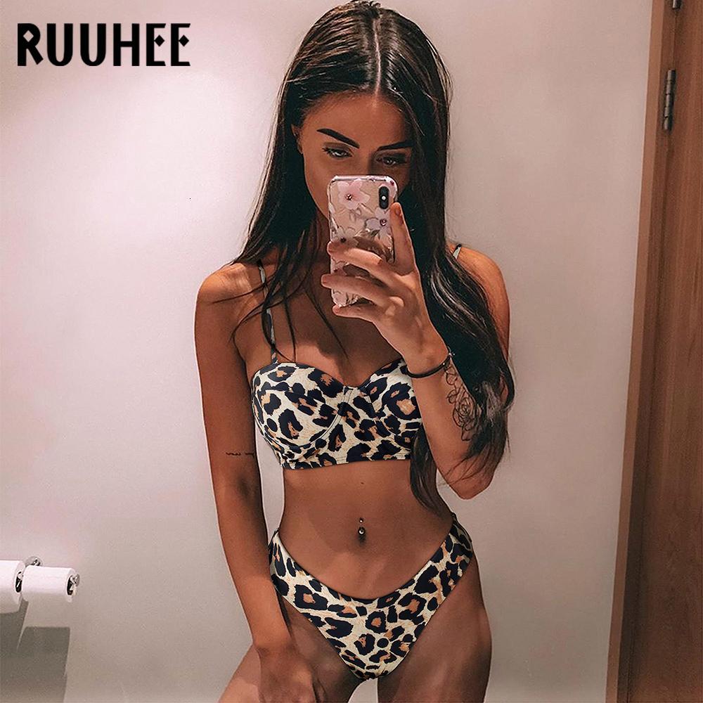 RUUHEE empuja hacia arriba el traje de baño de mujeres traje de baño del bikini del vendaje 2020 Bikinis Set acolchado traje de baño New Leaf Imprimir Biquini maillot de