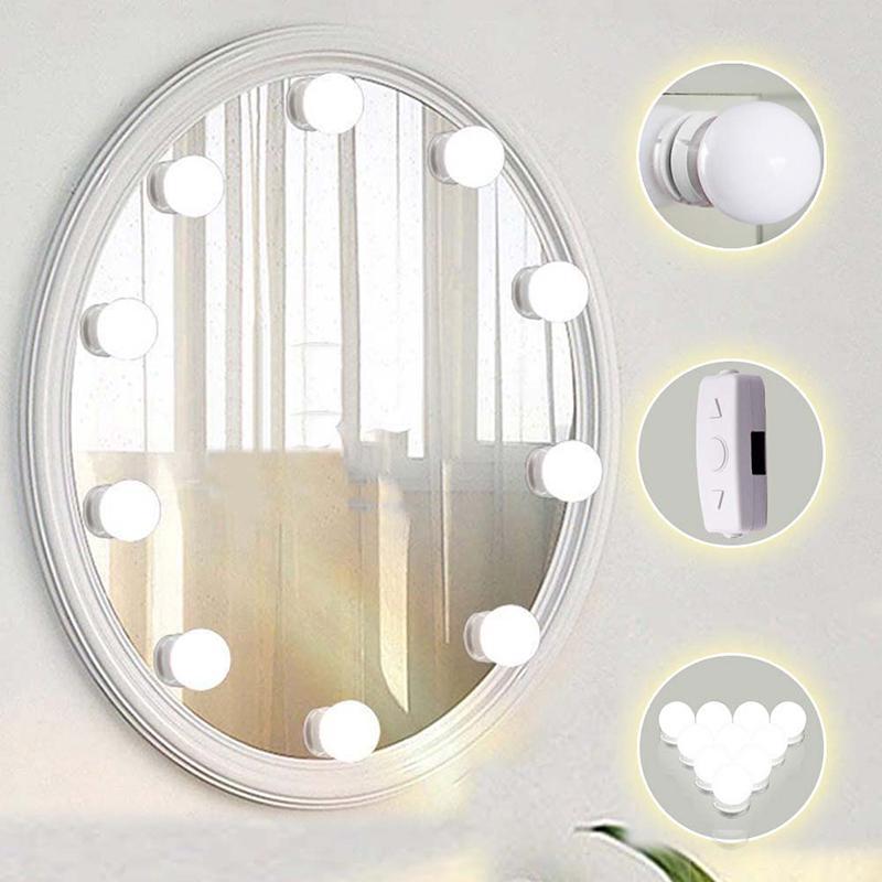10 Ad LED Ampul Makyaj Makyaj Aynası Ayarlanabilir Işık LED Makyaj Aynası Lambası Seti Mercek Far Hollywood'un Stil Dresser Lamba Aksesuar