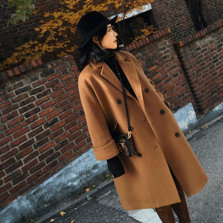 Invierno más el tamaño de Corea en lana de lana abrigo de 200 kg de grasa mm mujeres de las mujeres espesa suelta la moda abrigo de lana