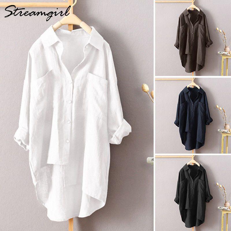 Shirt camicia bianca di lino manica lunga estate delle donne del lavoro di usura Biancheria Camicetta Femminile 5XL camicette delle donne più le donne con tasca CX200820